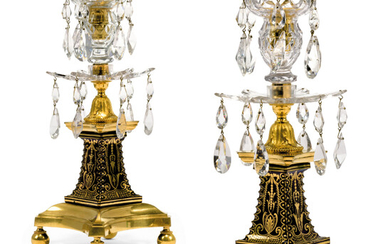 A PAIR OF GEORGE III ORMOLU-MOUNTED CLEAR AND BLUE GLASS CANDLESTICKS