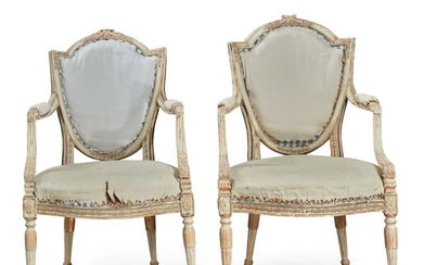 A PAIR OF GEORGE III POLYCHROME AND PARCEL GILT ARMCHAIRS, CIRCA 1775