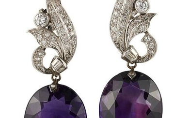 A PAIR OF MID 20TH CENTURY AMETHYST AND DIAMOND DROP