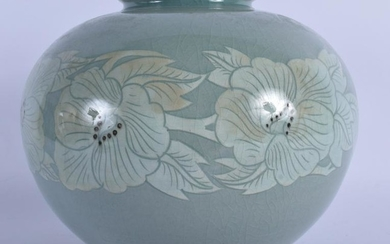A PALE GREEN GLAZED KOREAN PORCELAIN VASE, decorated
