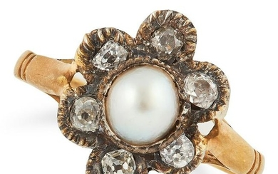 A PEARL AND DIAMOND RING comprising of a pearl and old