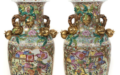 A Pair of Chinese Famille Rose Porcelain Palace Vases