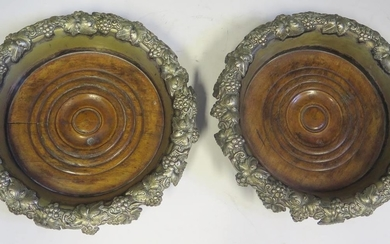 A Pair of Large Silver Plated Bottle Coasters, 20cm