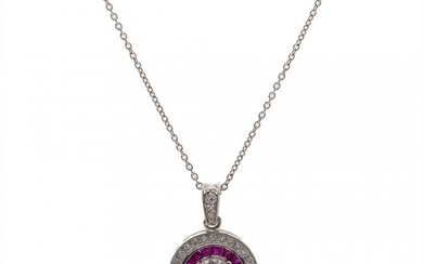 A Platinum Diamond and Ruby Pendant Necklace