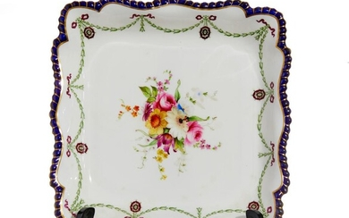 A ROYAL WORCESTER SQUARE SHAPED DESSERT DISH BY ERNEST PHILLIPS