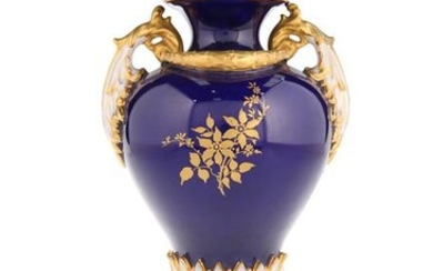 A ROYAL WORCESTER TWO-HANDLED PORCELAIN VASE, of