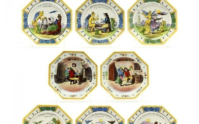 A Rare Set of Six Legende Antique Faience Plates Plus