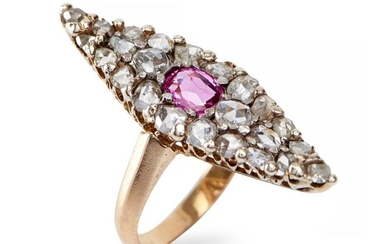A SAPPHIRE AND DIAMOND RING - The kite shaped plaque centred with a cushion cut pink sapphire, within a surround of old European and...
