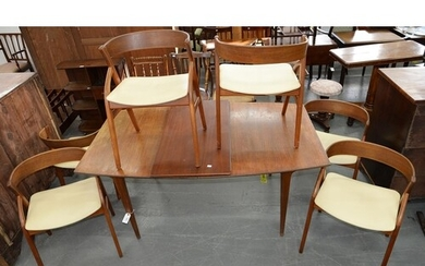 A SET OF SIX DANISH TEAK DINING CHAIRS AND A DINING TABLE, 1...