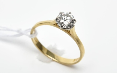 A SOLITAIRE DIAMOND OF 0.74CTS (G /VVS) RING IN 18CT GOLD, SIZE M