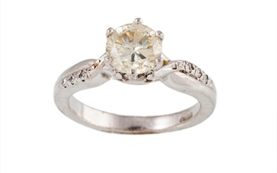 A SOLITAIRE DIAMOND RING, the brilliant cut diamond weighing...