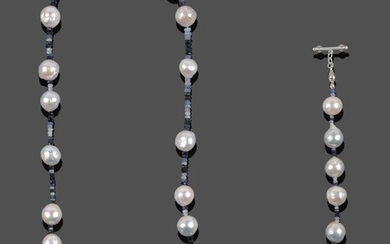 A Sapphire and Cultured Pearl Necklace, faceted sapphire beads of...