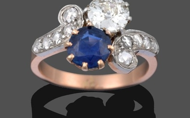 A Sapphire and Diamond Crossover Ring, the old cut diamond...