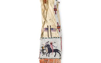 A Sioux pictorial beaded tobacco bag