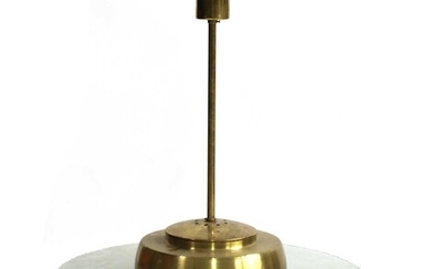 A Swedish modernist cut-glass disk and brass ceiling lamp