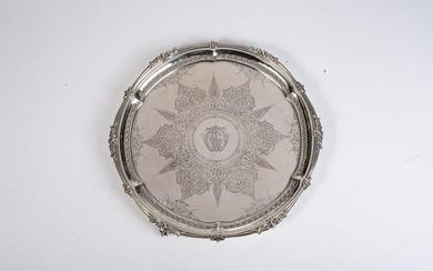 A VICTORIAN SILVER SALVER, WALKER AND HALL, SHEFFIELD