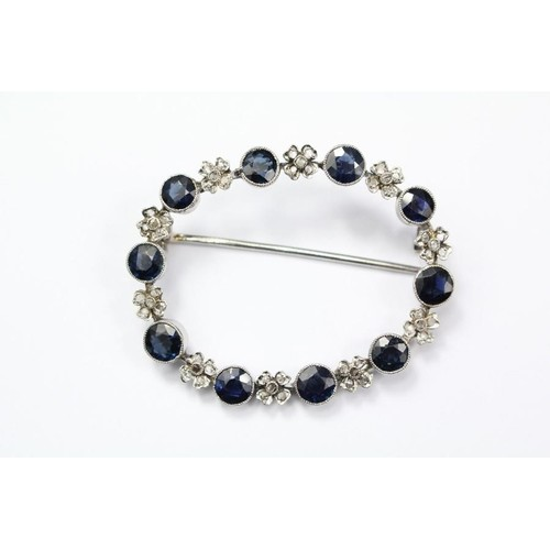 A Victorian sapphire and diamond brooch, approx cms.