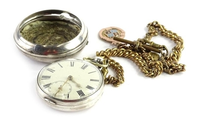 A Victorian silver pair cased pocket watch, the enamel dial ...