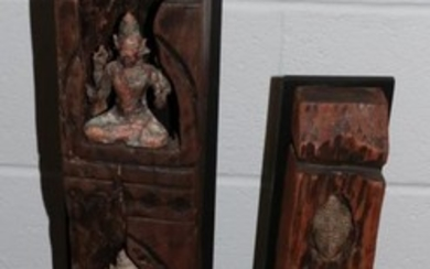 A bronze Ganesh, in a trunk section; three similar figures...