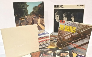 A collection of approximately eighty Beatles LPs, mostly lat...