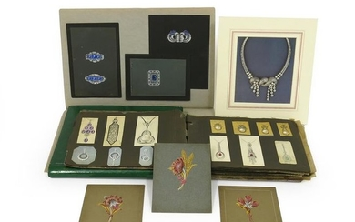 A collection of hand-painted original jewellery designs, including...