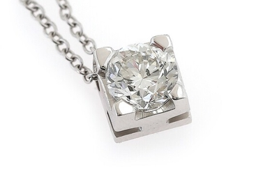 SOLD. A diamond necklace set with a brilliant-cut diamond weighing 1.01 ct., mounted in 18k...