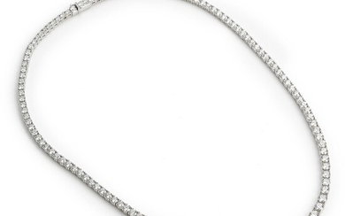 A diamond necklace set with numerous brilliant-cut diamonds weighing a total of app. 14.93 ct., mounted in 18k white gold. Antwerp, circa 2005.