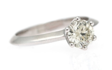 NOT SOLD. A diamond ring set with a brilliant-cut diamond weighing app. 1.01 ct., mounted...