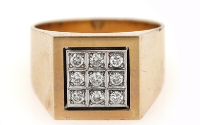 SOLD. A diamond ring set with nine brilliant-cut diamonds weighing a total of app. 0.50...