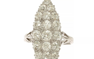 A diamond ring set with numerous old-cut diamonds, mounted in 18k partly rhodium plated gold and white gold. Front app. 12.5×31 mm. Size 55.