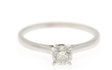 A diamond solitaire ring set with a brilliant-cut diamond weighing app. 0.55 ct., mounted in 18k white gold. Size 56.