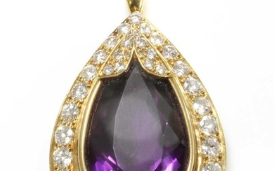 A gold amethyst and diamond pendant or clasp centrepiece
