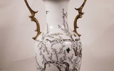 A large Chinese famille verte porcelain vase with later appl...