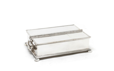 A large Edwardian silver treasury inkstand