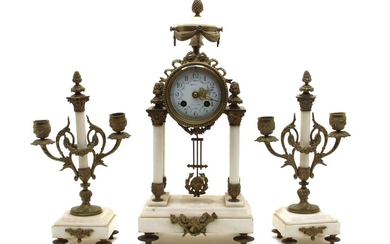 A late 19th century French marble portico clock and garniture