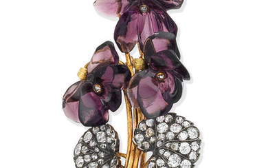 A late 19th century paste and diamond flower brooch