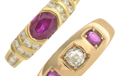 A late Victorian 18ct gold ruby and diamond ring, with a later ruby and diamond dress ring.