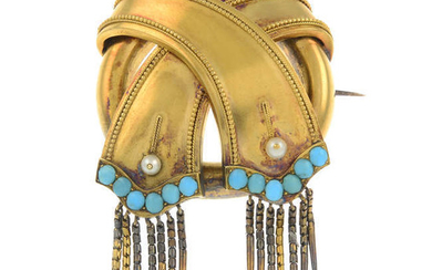 A late Victorian 18ct gold seed pearl and turquoise brooch, with snake-link tassels.