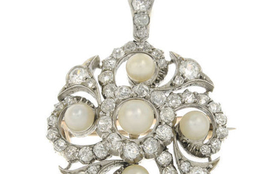 A late Victorian pearl and old-cut diamond pendant, with hair ornament and brooch fittings, in fitted case.