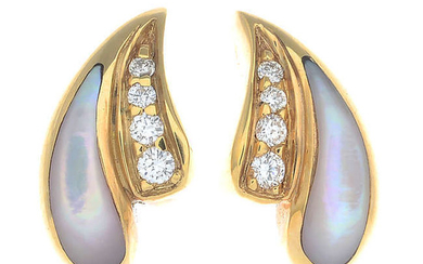 A pair of 18ct gold diamond and mother-of-pearl earrings.