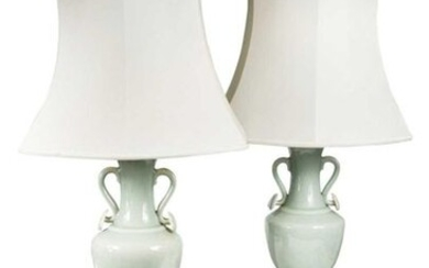 A pair of 20th century Chinese celadon glazed lamp…