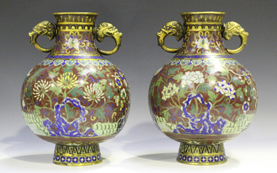 A pair of Chinese cloisonné vases, early 19th century, each globular body and short flared neck
