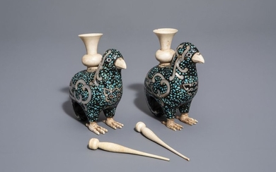 A pair of Chinese mother of pearl, turquoise...