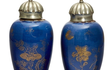 A pair of Chinese small powder blue ground vases, Kangxi...