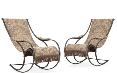A pair of French steel rocking chairs. Late 19th century. (2).