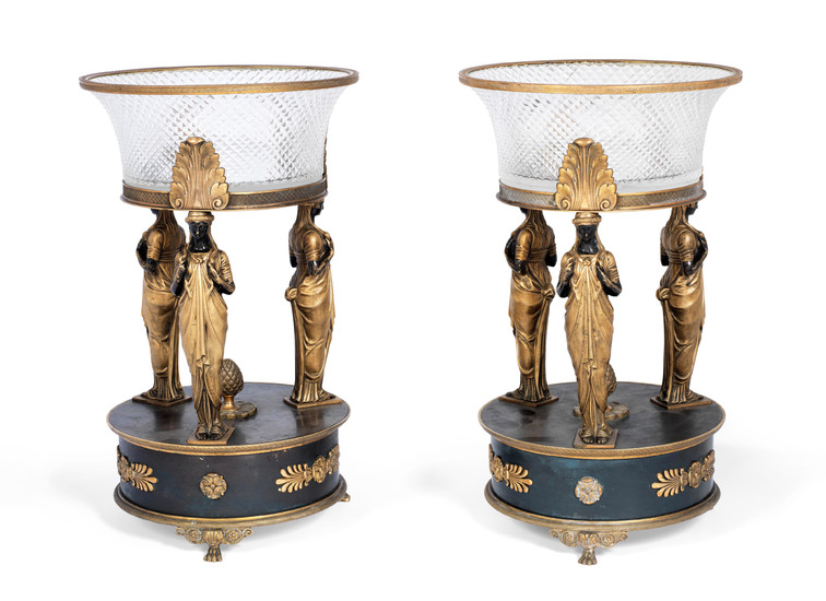 A pair of early 20th century Empire style French gilt and patinated bronze mounted cut glass centre piece garniture
