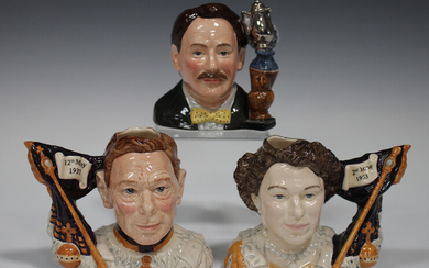 A pair of limited edition small Royal Doulton character jugs, comprising King George VI Coronation