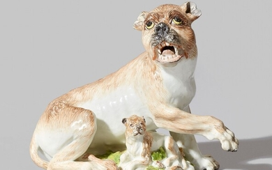 A rare Meissen porcelain model of a lioness and cub