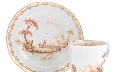 A rare New Hall coffee cup and saucer by Fidelle Duvivier, circa 1785-90