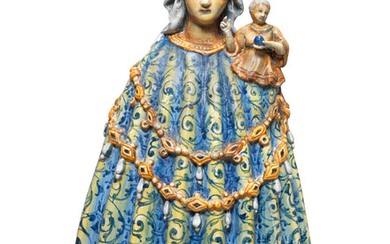 A rare Urbino maiolica figure of the Madonna and Child, attributed to the Patanazzi workshop, second half 16th century